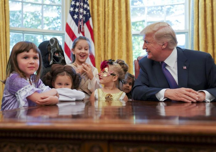 'How does the press treat you?' Trump asks kids in Oval Office