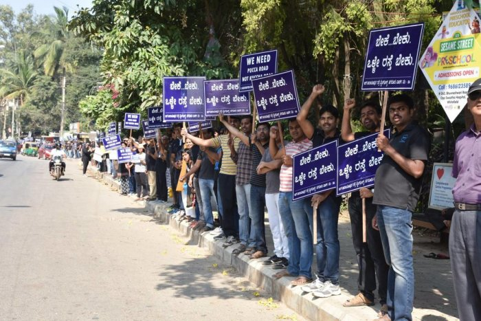 Residents stage protest against bad roads