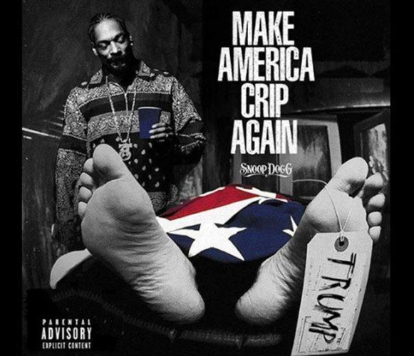 Snoop Dogg stands over Trump's dead body on new album cover