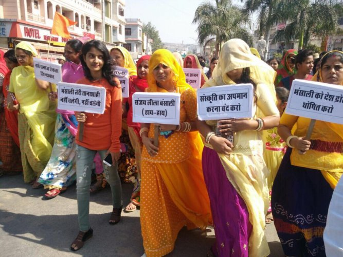Protests at Rani Padmini's birthplace