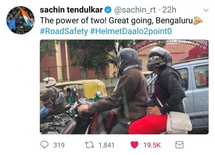 Sachin pats city's pillion riders