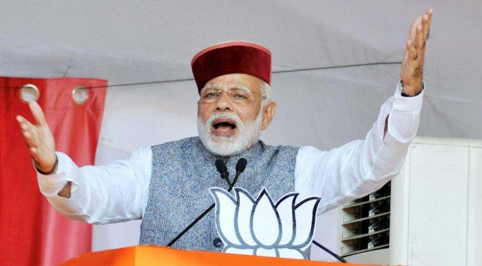 Cong has run away; HP poll one-sided: Modi at rally