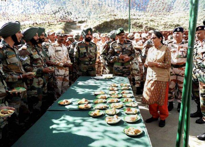 Nirmala visits forward army posts in Arunachal