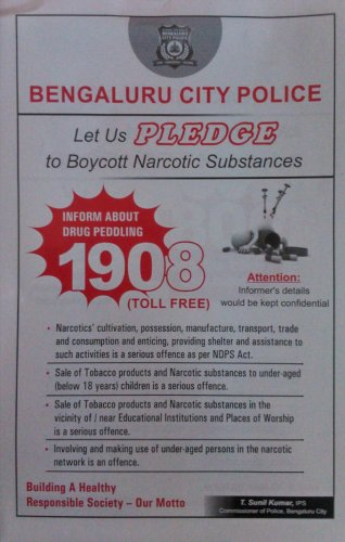 Dial 1908 to give info on drug menace in B'luru