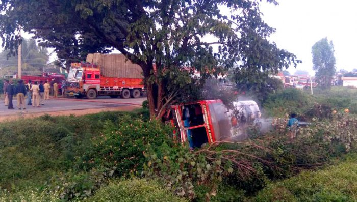Chemical-laden tanker hits electric pole, catches fire