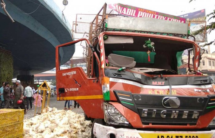 1k chickens crushed to death as lorry falls from flyover