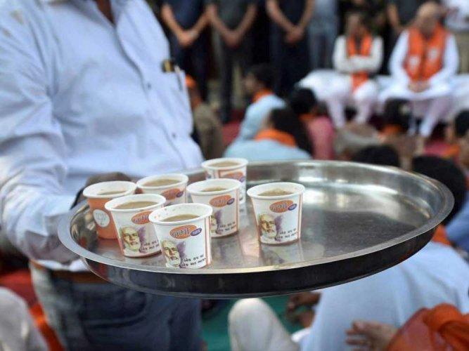 BJP leaders sip tea with people during PM's radio talk