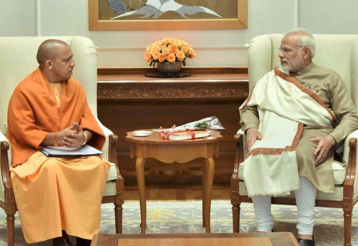 Yogi meets Modi after winning UP civic polls