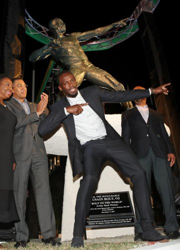 Bolt overwhelmed as statue is unveiled in Jamaica