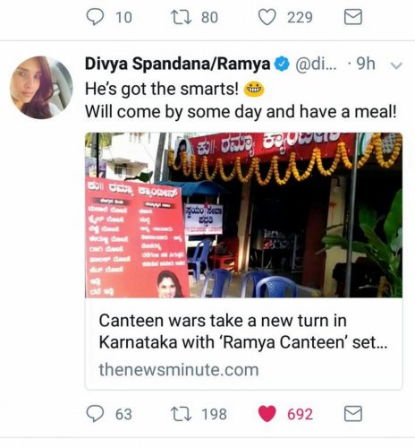 Actor tweets about Ramya canteen in Mandya