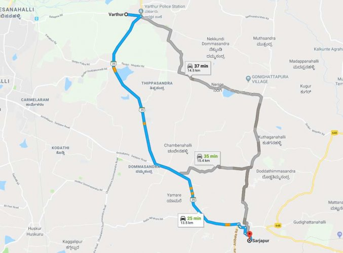 Palike plans to widen road from Varthur to Sarjapur