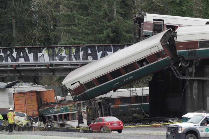 At least three dead as train derails over Washington state highway