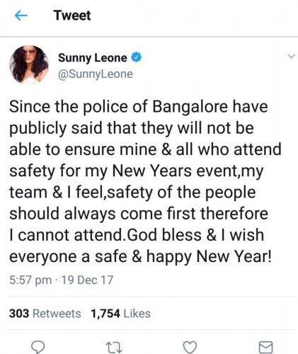 Sunny says safety first, calls off Bengaluru bash