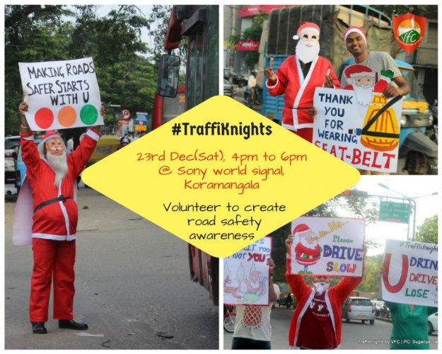Santas turn traffic knights to spread road safety message