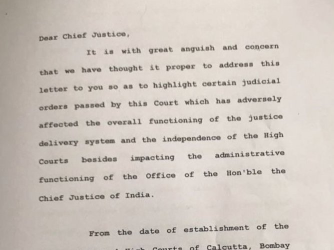 Full Text of letter by four SC judges to CJI