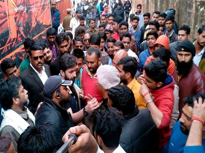 Karni Sena members held while protesting outside CBFC office