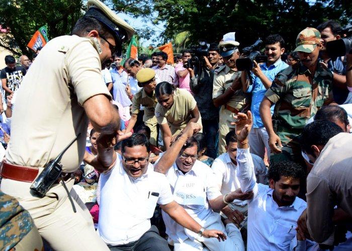 BJP protest against CM's remark