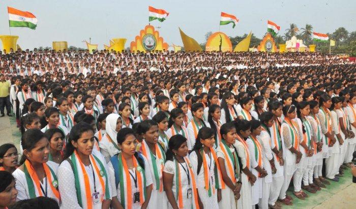 Students create world record in singing 'Vande Mataram'