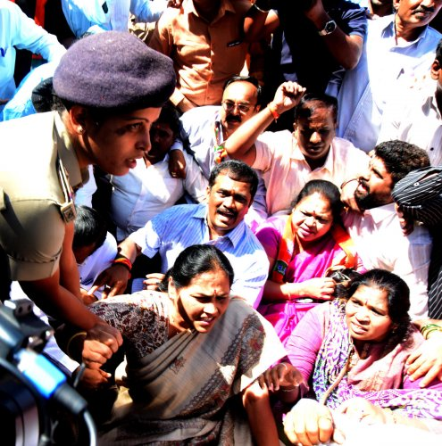 BJP workers protest against CM's 'terrorist' jibe