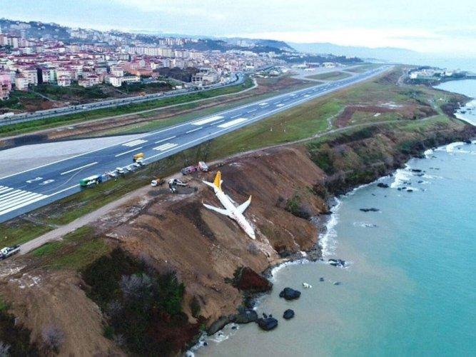 Turkish passenger plane goes off runway metres away from sea