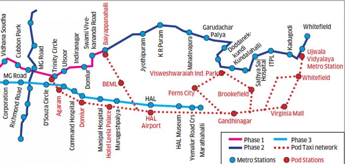 Pod-taxi route in conflict with Metro alignment