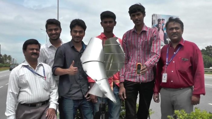Brainchild of engg students, this windmill produces power from speeding vehicles