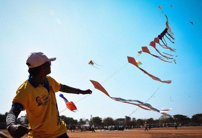 Kites create collage of colours on Hubballi skies