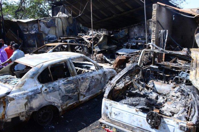 Fire guts cars, shops