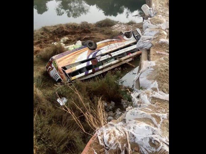 Four killed, 32 injured as bus skids off bridge in Odisha