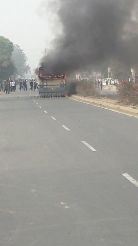 Mob burns bus, school bus attacked in Haryana.