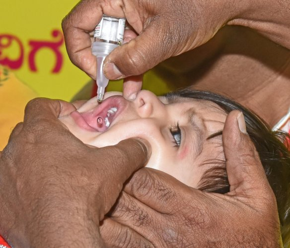 Scores of children get polio drops at CM's home office