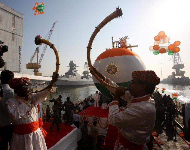 Indian Navy launches third Scorpene class submarine Karanj