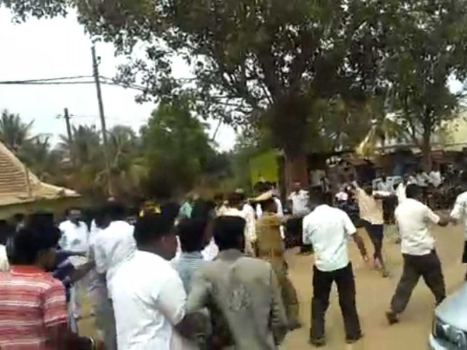 Watch: JD(S) MLA Krishnappa's supporters assault villagers
