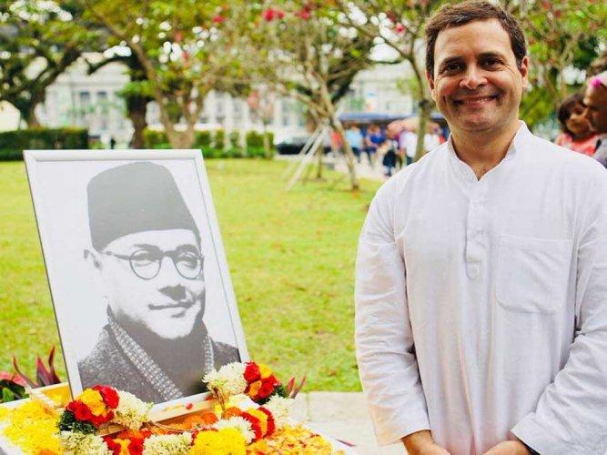 Rahul Gandhi visits Netaji memorial in Singapore