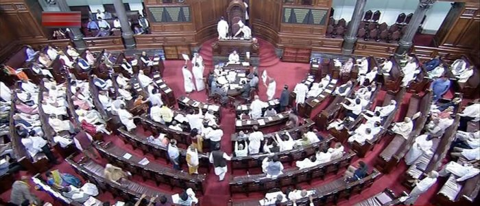 Cong protest against Chowdary's remarks disrupts Rajya Sabha