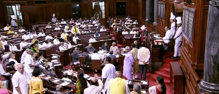 Rajya Sabha adjourned for the day amid protests by Congress, TDP