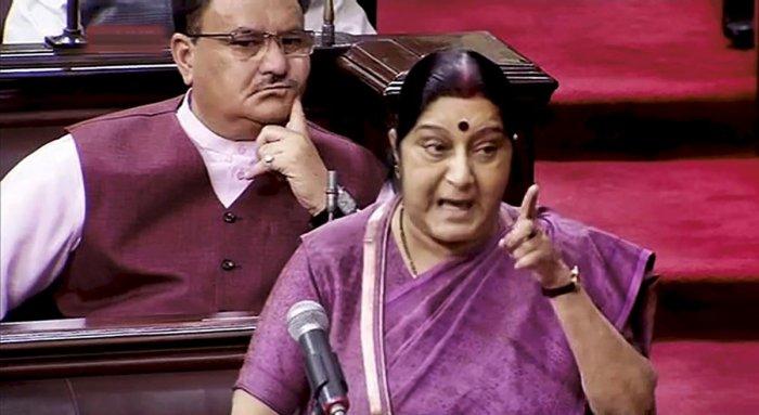 Swaraj slams Cong for disrupting proceedings in LS