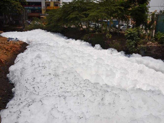 Varthur lake froths amid messy civil works, rain