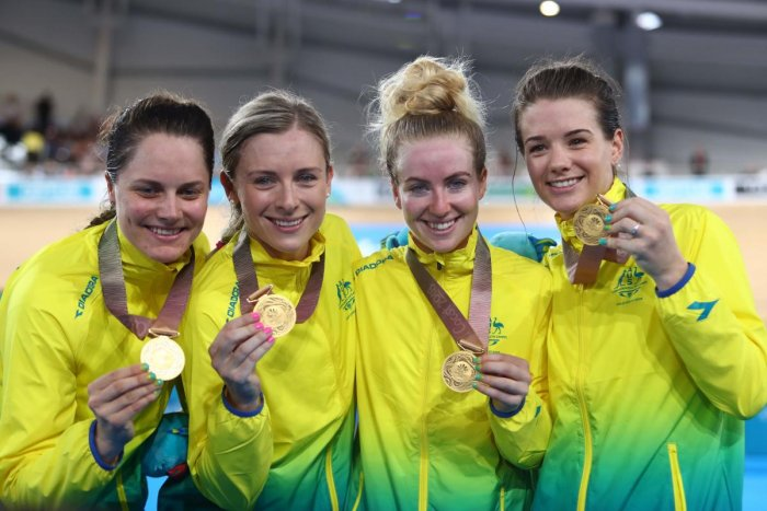 Hat-trick of gold for record-breaking Aussie cyclists