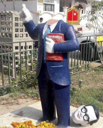 More Ambedkar statues vandalised in UP