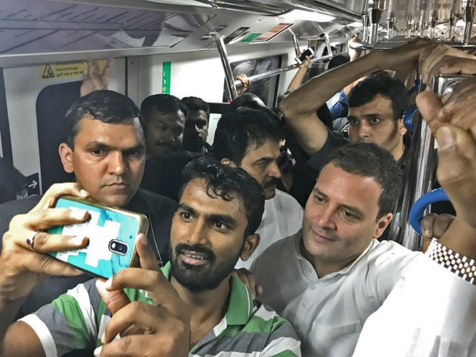 Metro ride, buying books and a public rally: Rahul's busy Sunday