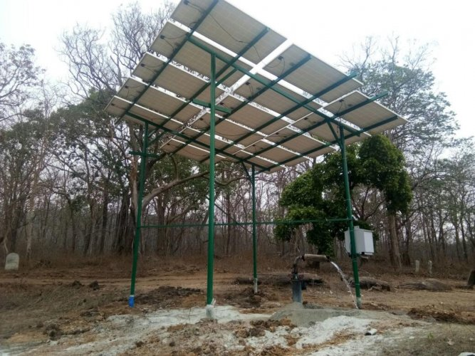 Solar energy to pump water to pond