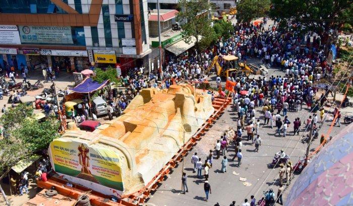 Hanuman idol movement damages roads, drains