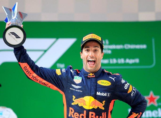 Ricciardo celebrates surprise victory