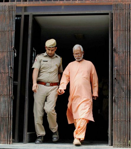 File photo of Mecca Masjid blast accused Swami Aseemanand who was acquitted by a special NIA court in Hyderabad on Monday. PTI Photo
