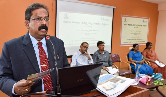 University of Mysore Vice Chancellor Prof. C Basavaraju speaking at the seminar on 'School Education is a Teacher in the Current Context', jointly organised by Azim Premji University and Department of Education Studies at Science Bhavan in Mysuru on Monda