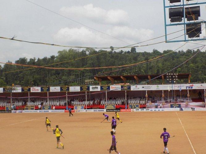 Hockey Players from Meriyanda and Pandyanda in action during the Kulletira Cup Hockey Tournament at Cheriyaparambu in Napoklu on Monday.