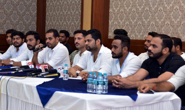 State Youth Congress General Secretary Suhail Kandak speaks to reporters in Mangaluru on Tuesday.