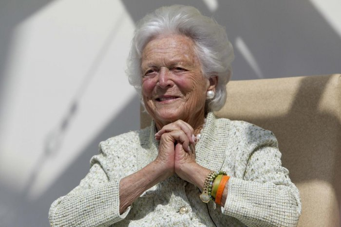 """Former first lady Barbara Bush listens to a patient's question during a visit to the Barbara Bush Children's Hospital at Maine Medical Center in Portland, Maine. A family spokesman said Sunday, April 15, 2018, that the former first lady Barbara Bush is in """"failing health"""" and won't seek additional medical treatment. (AP/ PTI)"""
