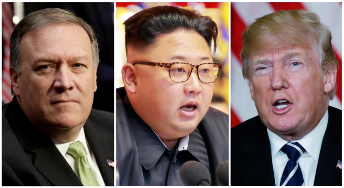 A combination photo shows CIA director Mike Pompeo (left), North Korean leader Kim Jong Un (centre), and US President Donald Trump. REUTERS